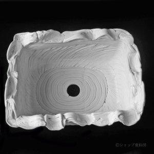 画像2: 綱木紋・四角鉢・オフホワイト〜ライトグレー