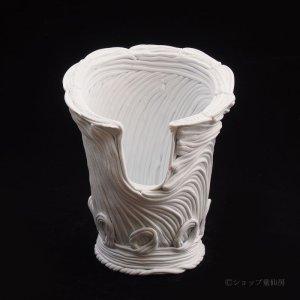 画像1: 綱木紋・鉢・かぐや姫ワンスリットL・オフホワイト〜ライトグレー