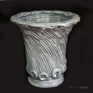画像1: 綱木紋・鉢・丸鉢・ライトグレーLロング