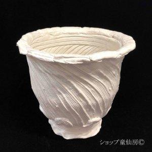 画像1: 綱木紋・鉢・丸鉢L・オフホワイト〜ライトグレー