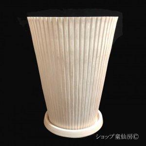画像2: 樹脂鉢・レイユールロングMW 受皿付・ホワイト
