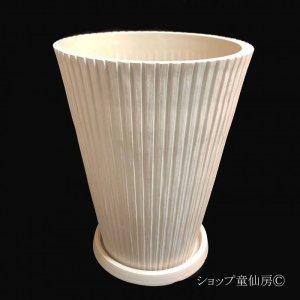 画像1: 樹脂鉢・レイユールロングMW 受皿付・ホワイト
