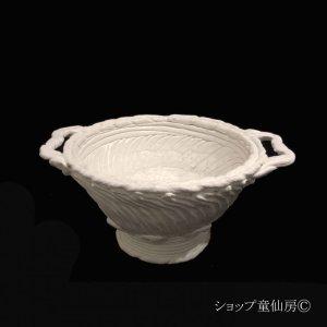 画像1: 綱木紋・鉢・ボール鉢両耳・オフホワイト〜ライトグレー