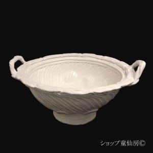 画像1: 綱木紋・鉢・ハイジL両耳・オフホワイト〜ライトグレー