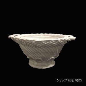 画像2: 綱木紋・鉢・ボール鉢両耳・オフホワイト〜ライトグレー