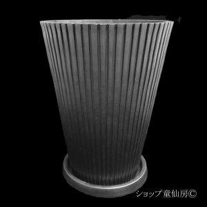 画像2: 樹脂鉢・レイユールロングMB 受皿付・ブラック