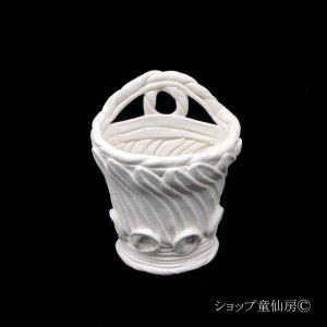 画像1: 綱木紋・鉢・壁掛けS・オフホワイト